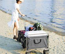 【海水浴で活躍】砂浜も走れる幅広タイヤのキャリーカートでオススメは?