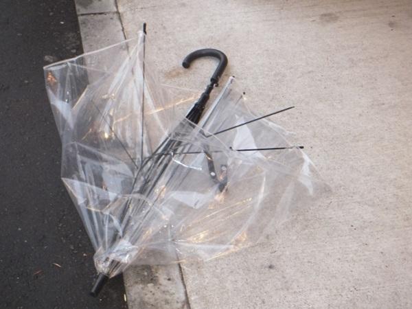 強風で壊れた傘